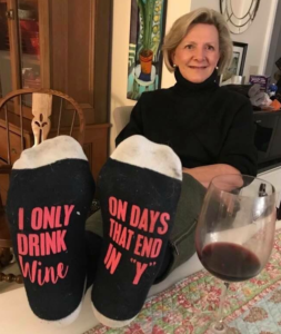 """This is me with my """"wine socks"""" on"""