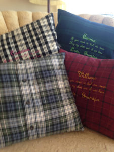 Picture of the pillow I made for my grandchildren from Grandpa's shirts