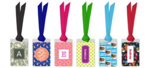 A picture of fun, bright colored luggage tags that can be easily seen