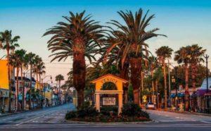 Beautiful palm tree lined Venice Avenue, Venice, Florida