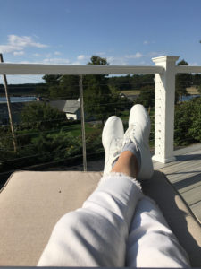 A picture of me relaxing on my deck