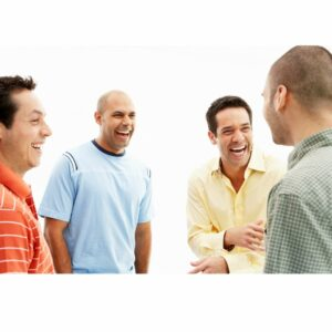 picture on a dating site of a group of happy men